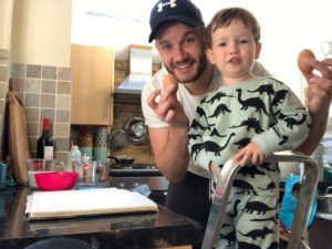 The Neu Dad & Marley in the kitchen