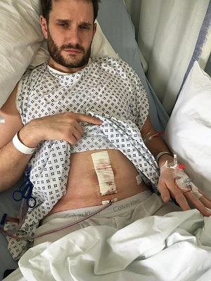The Neu Dad in hospital with appendicitis