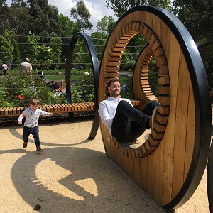 The Neu Dad and his son Marley enjoying themselves in the Children's Garden at Kew Gardens