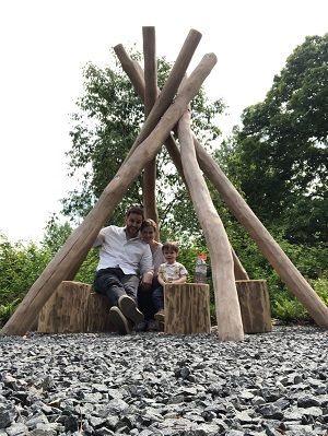 The Neu Dad and his family at the Children's Garden at Kew Gardens